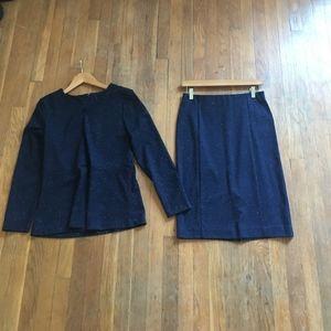 2 Piece Blue Peplum Suit